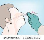 step 4   gently insert the swab ... | Shutterstock .eps vector #1832834119