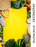 Colorful Summer Flat Lay. Straw ...