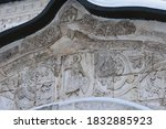 Close Up Of Ancient Facade Of...