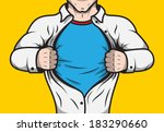 Disguised comic book superhero adult man under cover opening his shirt template vector illustration - stock vector