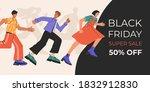 crowd of happy people running... | Shutterstock .eps vector #1832912830