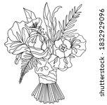 bouquet of eucalyptus  proteus... | Shutterstock .eps vector #1832929096