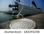 coil of the rope on the wooden... | Shutterstock . vector #183293258