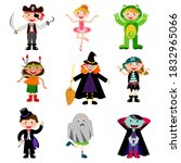 kids wearing different carnival ... | Shutterstock .eps vector #1832965066