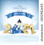 merry christmas background with ... | Shutterstock .eps vector #1832981653