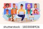 virtual work group meeting via... | Shutterstock .eps vector #1833008926