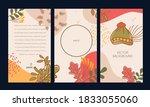 set of vector background autumn ... | Shutterstock .eps vector #1833055060
