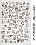 vector doodle coffee  tea and... | Shutterstock .eps vector #183306584