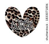 wild heart lettering in doodle... | Shutterstock .eps vector #1833071806