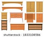 retro wooden bedroom furniture...   Shutterstock .eps vector #1833108586