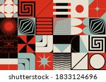 swiss design style abstract... | Shutterstock .eps vector #1833124696