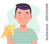 Cute Little Boy Eating Banana....