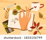 cozy autumn composition with... | Shutterstock .eps vector #1833156799