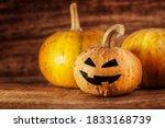 halloween jack o lantern on a... | Shutterstock . vector #1833168739