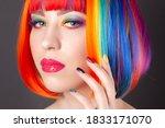 beautiful woman wearing... | Shutterstock . vector #1833171070