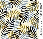 palm leaves seamless vector...   Shutterstock .eps vector #1833174379