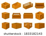 wooden boxes. delivery... | Shutterstock .eps vector #1833182143