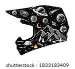 motocross helmet and universe...   Shutterstock .eps vector #1833183409