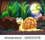 Illustration of a snail in the forest - stock vector