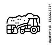Landfill Tractor Line Icon...