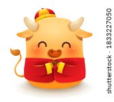cute little ox with traditional ... | Shutterstock .eps vector #1833227050