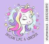art. cute unicorn. little... | Shutterstock .eps vector #1833238393