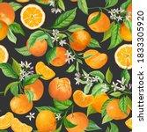 mandarin floral pattern. vector ... | Shutterstock .eps vector #1833305920