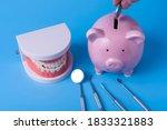 piggy bank on a blue background ...   Shutterstock . vector #1833321883