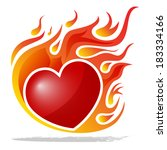 burning heart isolated on white | Shutterstock .eps vector #183334166