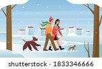 People Walk In Winter Vector...
