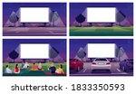 open air cinema place semi flat ... | Shutterstock .eps vector #1833350593