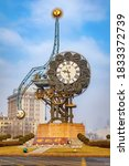 Small photo of Tianjin, China - Jan 16 2020: Tianjin Century Clock situted in front of Jiefang bridge, represents the dawn of Chinese modern industry in Tianjin