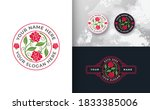 abstract red rose logo design | Shutterstock .eps vector #1833385006