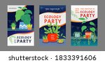 ecology party invitation cards... | Shutterstock .eps vector #1833391606