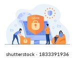 tiny people protecting business ... | Shutterstock .eps vector #1833391936