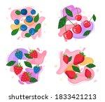 set of berries on abstract...   Shutterstock .eps vector #1833421213