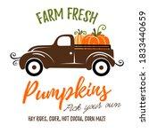 pumpkins on a truck vector... | Shutterstock .eps vector #1833440659