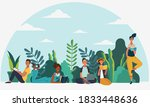 young people reading books in... | Shutterstock .eps vector #1833448636