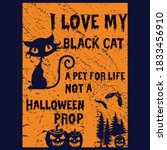 i love my black cat a pet for... | Shutterstock .eps vector #1833456910