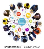 multi ethnical people working... | Shutterstock . vector #183346910