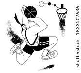basketball player throws a ball.... | Shutterstock .eps vector #1833502636