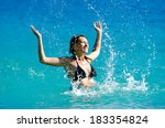 girl in the ocean. girl... | Shutterstock . vector #183354824