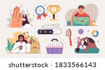 set of people and their pets... | Shutterstock .eps vector #1833566143