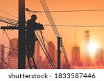 Silhouette Electrician On...