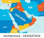 middle east map   4 bright... | Shutterstock .eps vector #1833647626