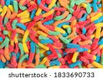 Sour Candy Gummy Worms Close U...