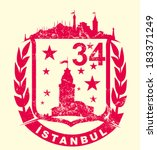istanbul city and ribbon vector ...   Shutterstock .eps vector #183371249
