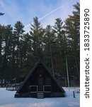 A-frame in the snow at Rocky Arbor State Park in Wisconsin Dells, WI.