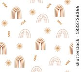 boho rainbows seamless pattern. ... | Shutterstock .eps vector #1833736366