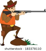 hunter shooting a rifle | Shutterstock .eps vector #183378110